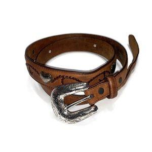 Tony Lama Leather Heart Conch Belt